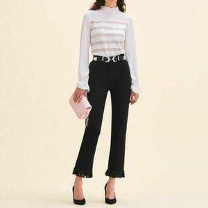 Maje Black Panako Fringe High Rise Straight Jeans